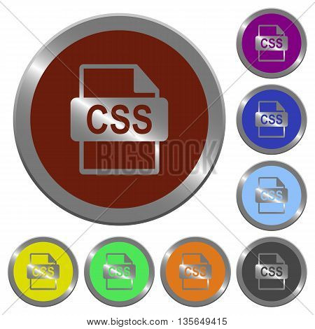 Set of color glossy coin-like CSS file format buttons.