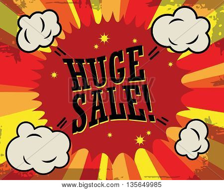 Abstract Huge sale label or poster, vector illustration