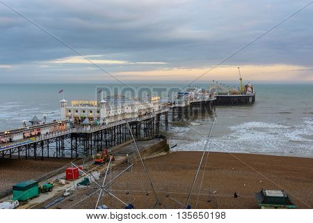 BRIGHTON, UK - CIRCA APRIL 2013: The Brighton Pier is one of the main attraction of Brighton and was opened in 1899.