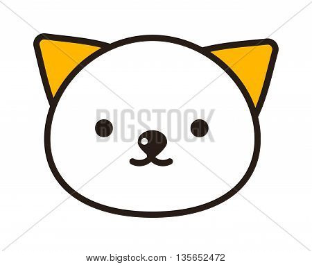 Vector portrait of exotic shorthair kitty head. Cute bi-color persian cat had with kind eyes. Portrait domestic graphic face kitty head. Kitty head nature symbol cartoon animal character.