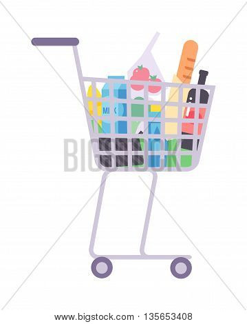 Shopping basket grocery trolley full of healthy organic fresh and natural food. Flat vector shop truck product basket icon. Shop truck product basket retail store shopping supermarket plastic handle basket.