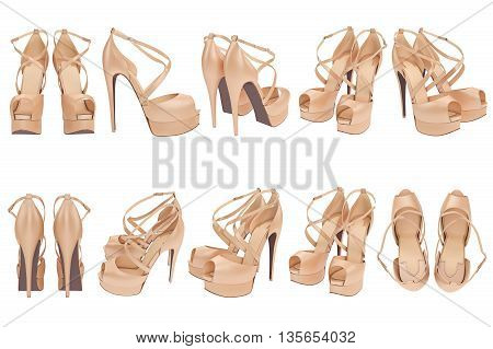 Set beige shoes with heels. 3D graphic