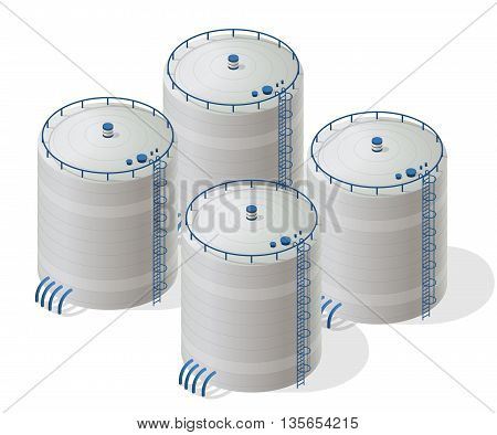 Water reservoir isometric building info graphic. Rafinery accessories. Gasometer containers. Uninterruptible power supply reserves. White water supply resource. Flatten isolated master vector icon.