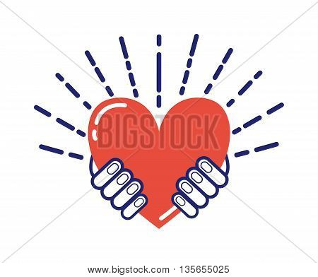 Hands holding heart people, relationship and love concept. Womans cupped hands showing red heart. Human gift peace symbol hands holding heart life family support. Romantic happiness lifestyle vector.