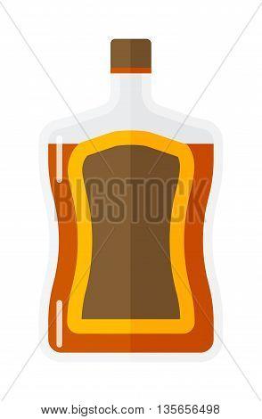 Whiskey bottle shot drink vector whiskey bottle brown drink. Brown whiskey bottle beverage liquor bar cognac amber, drunk ireland flavor. Taste screw scottish cocktail.
