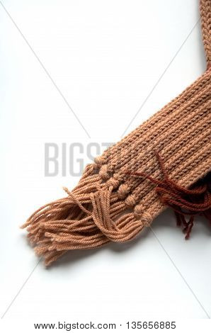 brown handmade scarf isolated on white background