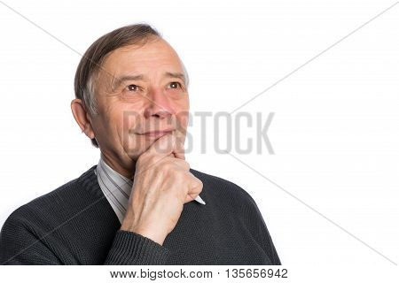 Portrait of senior chairman standing against white background. Business people