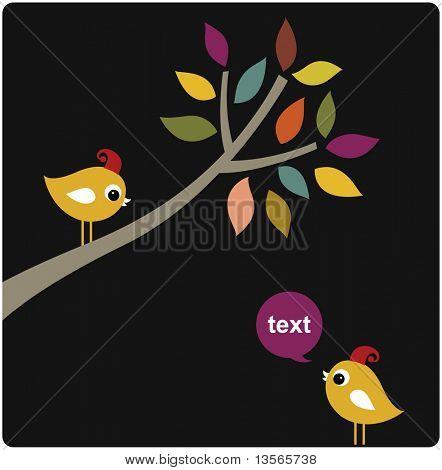 vector xmas birds card design poster