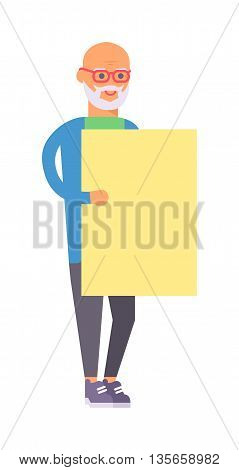 Senior man with blank old man banner vector character. Old man banner placard board senior poster adult, mature billboard. People advertisement old man banner looking, standing pensioner.