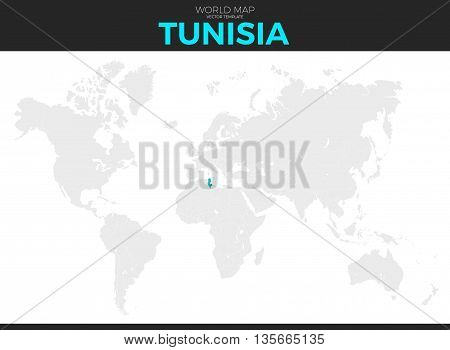 Tunisia Tunisian Republic location modern detailed vector map. All world countries without names. Vector template of beautiful flat grayscale map design with selected country and border location