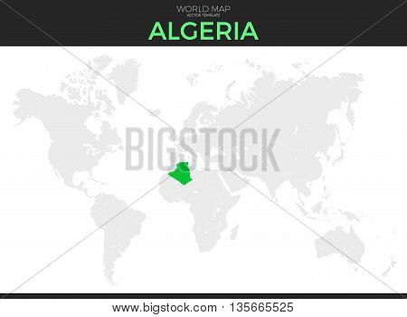 People's Democratic Republic of Algeria location modern detailed vector map. All world countries without names. Vector template of beautiful flat grayscale map design with selected country and border location