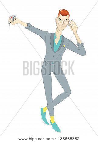broker, Broker calls by phone, character Trendy costume