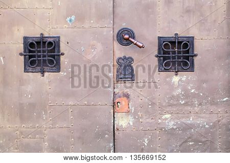 Old Ancient Iron Door Background