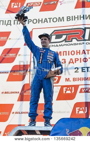 VinnytsiaUkraine-July 25 2015:The winner (2nd place) Alexey Golovnja of the second stage Drift championship of Ukraine on July 252015 in Vinnytsia Ukraine.