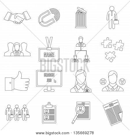 Human resource management icons set in outline style for any design