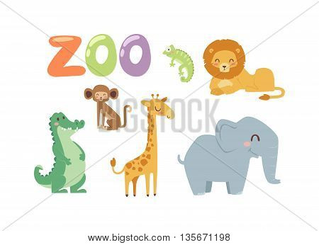 Vector zoo animals. Many different animals baby panda, sea whale, beautiful octopus, large buffalo, horned goat. Zoo animal character jungle wildlife safari collection and cartoon cute animals.