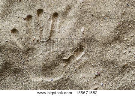 A Hand Print on Dirty Sand. Left Hand.