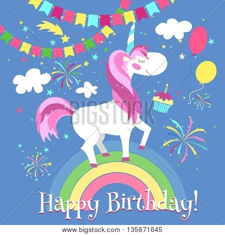 Happy birthday card with cute unicorn. Vector template. Unicorn card birthday, happy unicorn on rainbow, fairytale fantasy unicorn illustration