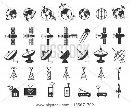 Satellite icons vector. Satellite communication, wireless satellite, connection satellite technology, internet signal satellite illustration