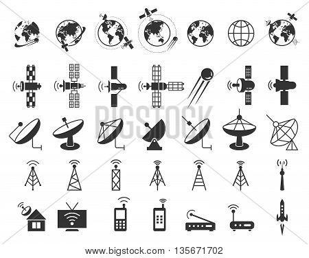 Satellite icons vector. Satellite communication, wireless satellite, connection satellite technology, internet signal satellite illustration