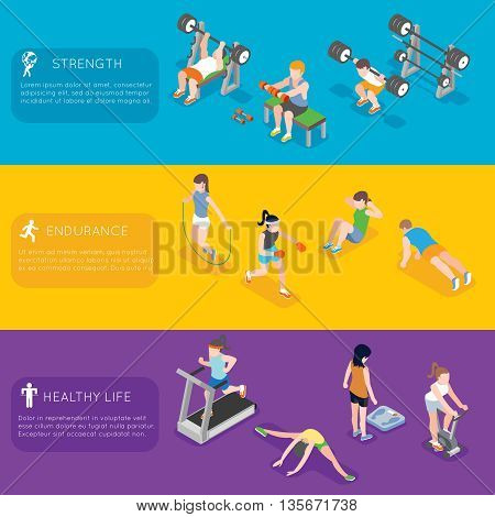 Fitness vector banners. Sport exercise fitness, training fitness gym banner, people active fitness illustration