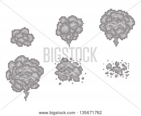 Pixel art smoke animation vector frames for game design. Pixel game smoke, cloud pixel smoke, video animation pixel smoke illustration