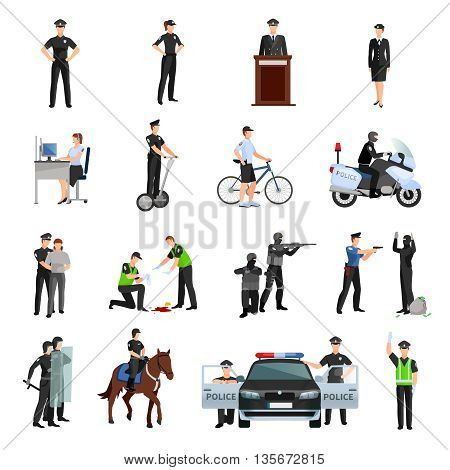 Police people in office and outside flat color icons set with traffic policeman criminalists dispatcher mounted police isolated vector illustration