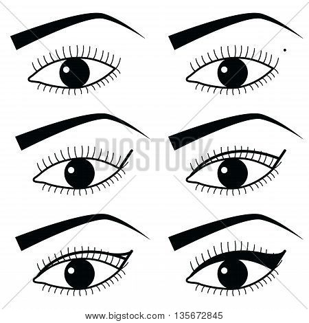 Eye make up technique  with use of  Eyeliner in Asian style  tutorial method 2,  simple black and white eyes icons set