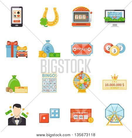 Lottery and jackpot decorative icons with fortune wheel winner ticket scratch card  lottery drum flat vector illustration