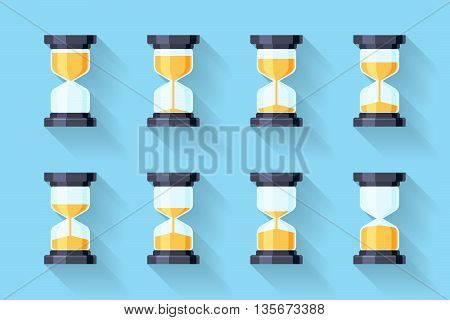 Sandglass flat icons vector. Sandglass animation frames. Time hourglass, sandclock process timer, animation countdown illustration