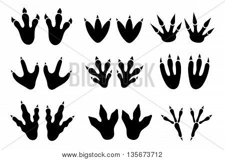 Dinosaur footprint tracks vector set. Dinosaur and footprint, paw footprint, animal monster footprint, ancient reptile footprint illustration