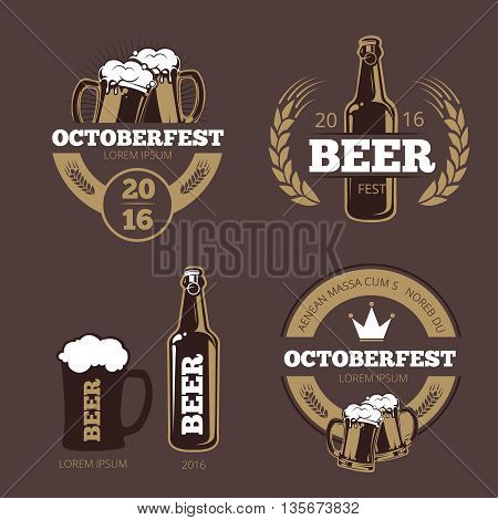 Beer label templates for beer house, brewing company, pub and bar. Beer logo, icon beverage beer bottle, brewery beer oktoberfest beer, company brewing business. Vector illustration