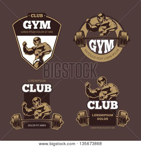 Fitness and bodybuilder sports retro emblems, labels, badges, logos. Retro gym bodybuilding club, sport club gym, label logo bodybuilding gym fitness, gym fitness emblem, vector illustration