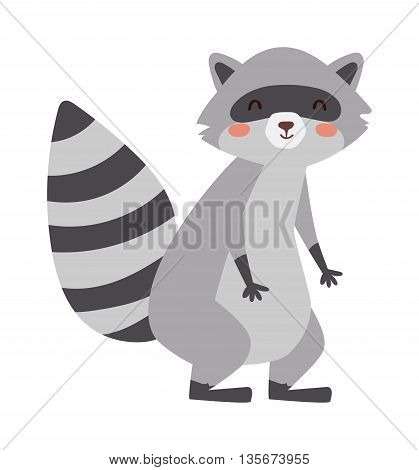 Funny raccoon sitting isolated on white background. Game animal adorable mammal raccoon vector character. Cute animal nature isolated wildlife raccoon funny cartoon pet. Charming humorous raccoon.