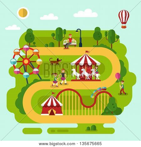 Flat design vector summer landscape illustration of amusement park with air balloon, carousel with kid, ferris wheel, roller coasters, road, bench with men, walking people, boy with balloon, dog.