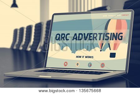 QRC Advertising Concept. Closeup of Landing Page on Mobile Computer Screen in Modern Meeting Room. Toned. Blurred Image. 3D Illustration.