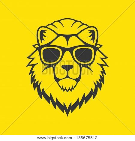 Hipster Style Lion Head Logo in Glasses. Vector illustration