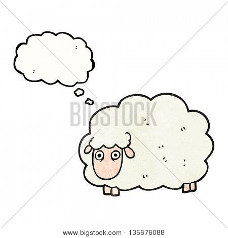 freehand drawn thought bubble textured cartoon farting sheep