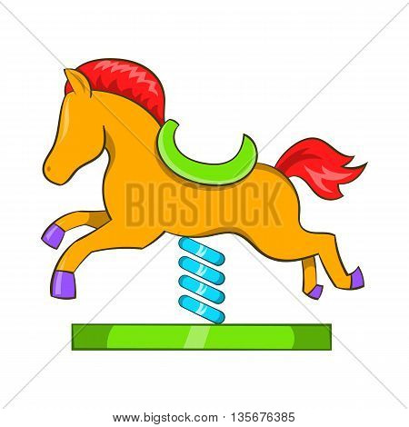 Horse spring see saw icon in cartoon style on a white background