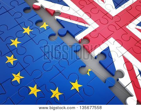 poster of Abstract disintegration Euro union and Britain (done in 3d rendering)