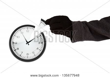 Arm with black glove stealing a piece of a clock time thief concept