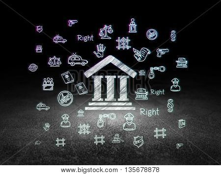 Law concept: Glowing Courthouse icon in grunge dark room with Dirty Floor, black background with  Hand Drawn Law Icons