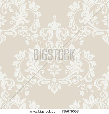 Vector floral damask pattern background. Luxury classic floral damask ornament royal Victorian vintage texture for textile fabric. Delicate floral baroque element