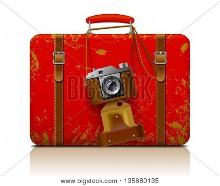 Red vintage threadbare suitcase with a retro photo camera. 3D illustration. Contain the Clipping Path