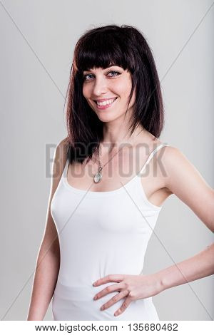 Happy Young Woman In Tight White Shirt