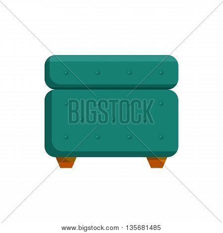 Turquoise pouf furniture icon in cartoon style on a white background