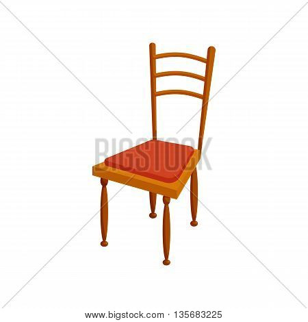 Brown chair icon in cartoon style on a white background