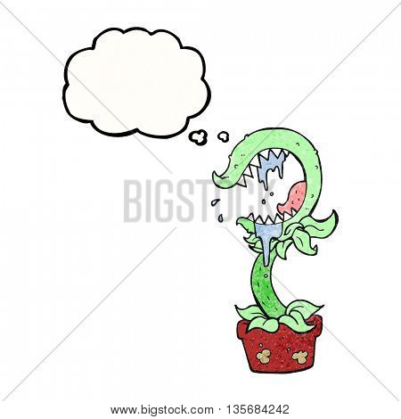 freehand drawn thought bubble textured cartoon carnivorous plant