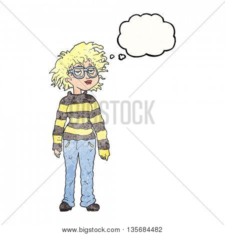 freehand drawn thought bubble textured cartoon geeky girl