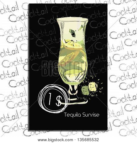 Vector illustration of Cocktail Blue Lagune with price on chalk board. Template elements for cocktail menu. Hand drawn drink for cocktail bar